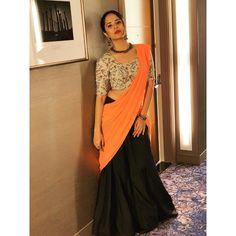 South Indian TV Actress Anasuya In Green Lehenga Orange Voni TV actress Photographs TV ACTRESS PHOTOGRAPHS | IN.PINTEREST.COM #ENTERTAINMENT #EDUCRATSWEB