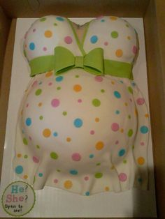 This would be cute if hosting a baby shower. The cake inside is either blue for a boy or pink for a girl.