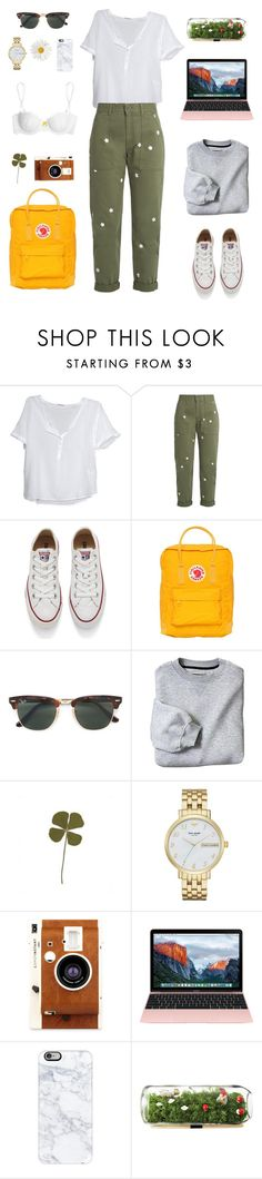 """college casual"" by lamagster ❤ liked on Polyvore featuring American Vintage, STELLA McCARTNEY, Converse, Fjällräven, Ray-Ban, Kate Spade, LØMO, Casetify and Heidi Klum Intimates"