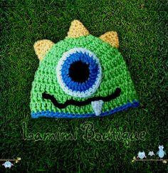 One-Eyed Monster Crochet Hat, Girls Crochet Hats, Kids Crochet Hats, baby hats, adult crochet hat via Etsy