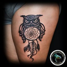 Dream Catcher & Owl Tattoo is a classic old school tattoo that can be used both for men tattoo and women tattoo. #maoritattoosdesigns