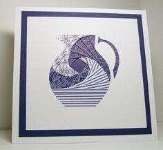 Iris Folded Card - Blue Pitcher