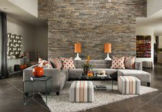Ideas For Apartment Living Room Grey Ottomans Grey And Orange Living Room, Living Room Grey, Home Living Room, Apartment Living, Living Room Colors, Living Room Designs, Dallas Furniture Stores, Contemporary Bedroom, Kitchen Contemporary
