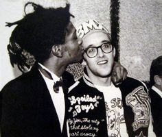 george hirose - jean michel basquiat and keith haring in 1987 at whitney museum event