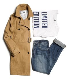Don't limit your travel style. Keep it cool and casual in Old Navy boyfriend denim paired with a comfy tee and a classic trench.