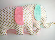 Modern metallic gold nursery decor Elephant Pillow by bakerbaby