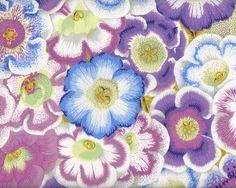 Feiner Patchworkstoff GLOXINIAS, Riesen-Blüten, helllila-hellblau