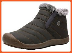 45e0898cdcc Women s Winter Boots Warm Waterproof Snow Boots Fur Lined Ankle Outdoor  Shoes by Santimon Khaki 8 B (M) US