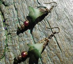 Lucite Flower Bead Earrings Tiger Lily Lucite Flower Beads