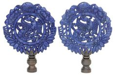 Wreathed Phoenix Lamp Finials, Pair