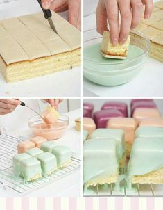 All Time Easy Cake : KatieSheaDesign Pet ♡ ❤ ▶ Petit Fours are small bite sized confectionery. All Time Easy Cake : KatieSheaDesign Pet ♡ ❤ ▶ Petit Fours are small bite sized confectionery, se Tea Cakes, Cupcake Cakes, Mini Desserts, Peggy Porschen Cakes, Petit Cake, Cake Recipes, Dessert Recipes, Delicious Desserts, Mini Foods