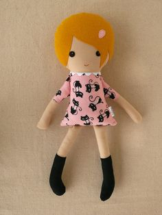 Fabric Doll Rag Doll Girl in Cat Print Dress