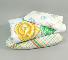 Vintage Twin sheet set remixed prints white yellow by StephieD