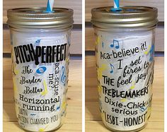 Personalized Mason Jar Tumbler // Pitch Perfect // Custom Tumbler // 24oz. // Matching Lid and Straw // Birthday