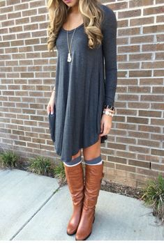 0af4b030ff982 Love this casual grey Plain Irregular Long Sleeve Casual Chic Style T-Shirt  with knee high socks and boots look!