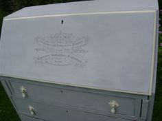 Vintage Oak Writing Bureau, painted Annie Sloan 'Paris Grey' & 'Cream', with lithographic image hand traced on the front.