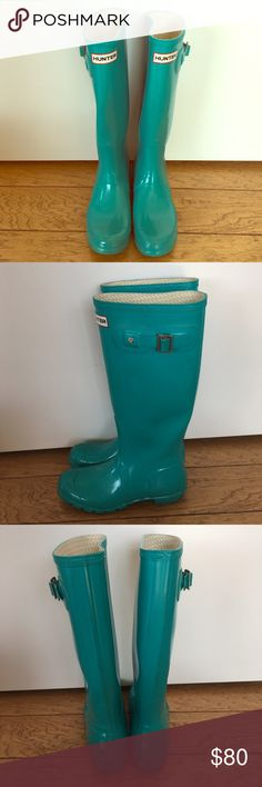 Hunter Rain Boots Women's 7 teal turquoise blue Hunter Rain Boots Women's 7 teal turquoise blue Hunter Shoes Winter & Rain Boots