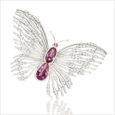 PINK SPINEL AND DIAMOND 'BUTTERFLY' BROOCH