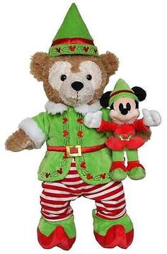 "Disney 17"" Duffy The Disney Bear Elf Costume Outfit with Elf Mickey Toy New 