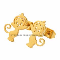 aretes de lindo mono en oro dorado acero inoxidable-SSEGG953138