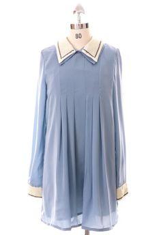 Contrast Sequins Collar High Waist Dress