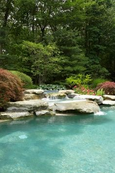 Rocks at varying levels. Small waterfalls create nice quiet, tricklng armosphere in the background | Traditional Pool by Novi Landscape Architects & Landscape Designers Great Oaks Landscape Associates Inc.