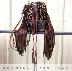 """Repurposed LOUIS VUITTON """"The Bolo"""" Handbag with Hair On Leopard, Fringe and Long Hand Braided Draw String by Running Roan Tack"""