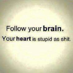 Haha yeah sometimes you have to follow your brain instead of your heart cuz your heart told you to go back to your ex but then what happened.....you got cheated on again and your brain was telling you to stay away and that eventually he'll come back but if he don't it's time to move on...