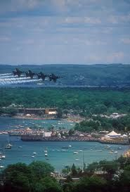 Blue Angels over West Grand Traverse Bay Theres my hotel in the 2nd inlet. heh heh heh Im sure I am in that crowd