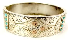 Antique Victorian Silver, 9ct Gold Turquoise Bracelet Bangle 1884 from m4gso on Ruby Lane