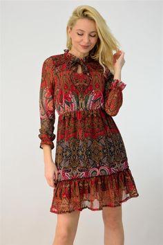 Γυναικείο αέρινο φόρεμα εμπριμέ | POTRE Dresses With Sleeves, Summer Dresses, Long Sleeve, Casual, Clothes, Collection, Fashion, Outfits, Moda