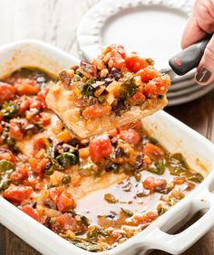 Intimidated by cooking fish? This simple Baked Mahi Mahi with Tomatoes and Olives is not only delicious but nearly foolproof! ~ http://www.garnishwithlemon.com