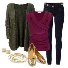 С чем носить золотые балетки: бордовая блузка и темно-зеленая кофта