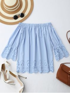 Off The Shoulder Laser Cut Top LIGHT BLUE: Blouses | ZAFUL