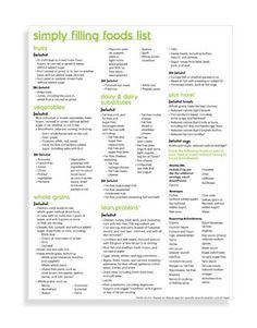 Simply Filling Foods List | Weight Watchers 2016: can download .pdf file from here -- once on page, scroll down