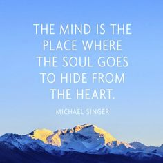 """""""The mind is the place where the soul goes to hide from the heart"""" ~Michael Singer"""