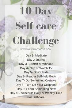 Join me in my Self-care Challenge! Where I will provide you with 10 daily self-care activities and tips, an example weekly self-care schedule, and a guide to begin journaling! Wellness Programs, Wellness Tips, Mantra, Self Care Activities, Self Development, Personal Development, Self Acceptance, Care Quotes, Self Care Routine