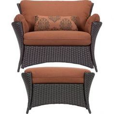 2-Piece Ellen Chair & Ottoman Set in Brown