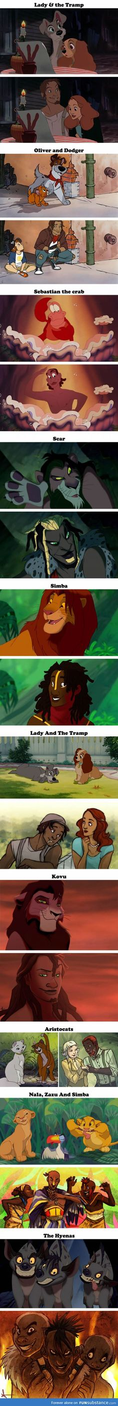 Famous Disney characters as ethnically correct humans