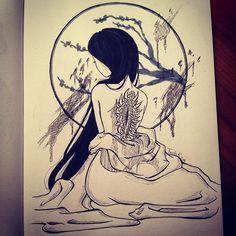 【tsuchikuroi】さんのInstagramをピンしています。 《#11 Inktober: Innocent girl  #inktober2016 #inktober #ink #inked #original #art #artwork #myart #innocent #girl #japan #yamauba #yokai #monster #blood #teeth #cherryblossoms #traditonal #traditionalart #anime #manga #animegirl #mangagirl #pen #pencil #tsuchi #kuroi #tsuchikuroi》