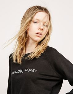 BSK text detail terry jumper. Discover this and many more items in Bershka with new products every week