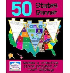 50 States Banner - printable pennants for each state to use as a creative states report or classroom display $