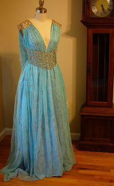 Daenerys Qarth azul y oro vestido vestido traje por tavariel