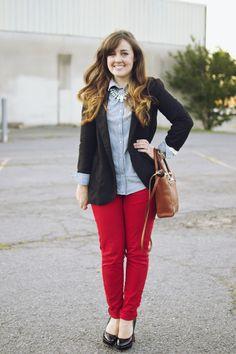 chambray + boyfriend blazer + red jeans
