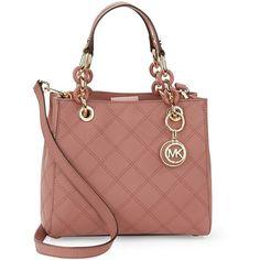 Michael Michael Kors Cynthia Small Leather Satchel Bag ($328) ❤ liked on Polyvore