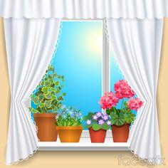 Pot-filled balcony, vector