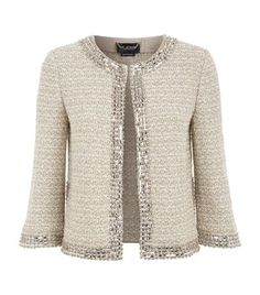 Diy Crafts - St John Beaded Trim Tweed Jacket available to buy at Harrods. Shop women's designer fashion online and earn Rewards points. Chanel Style Jacket, Jacket Style, Knitted Jackets Women, Jackets For Women, Couture Mode, Couture Fashion, Lace Bridal Robe, Beaded Jacket, Beaded Trim