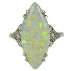 Edwardian Marquise shaped Opal Diamond Platinum Ring