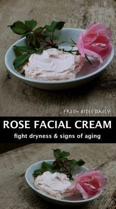A luxurious rose facial cream to fight dry skin and signs of aging.  #rose #herbs #naturalskincare #skincarerecipe #herbalrecipe #FaceCreamForWrinkles Homemade Face Lotion, Rose Water Face, Amanda, Face Cream For Wrinkles, Face Creams, India Food, Facial Cream, Beauty Recipe, Dry Skin