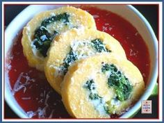 Girelle di polenta con mozzarella e spinaci